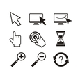 Set of mouse cursors hand cursor hourglass vector image