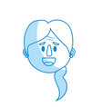 Silhouette old woman face with hairstyle vector image