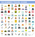100 summer travel icons set flat style vector image