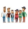 Group of hipster men cartoon design vector image