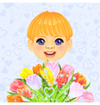 smilingl little boy with a big bouquet vector image vector image