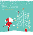 santa in red hat and bullfinch singing christmas vector image