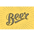 Hand drawn lettering Beer on chalkboard background vector image