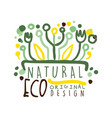 natural eco label logo graphic template healthy vector image