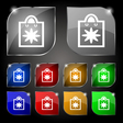 shopping bag icon sign Set of ten colorful buttons vector image