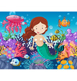 Mermaid and fish swimming under the sea vector image
