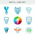Tooth logo set Dental medical healthcare symbols vector image