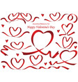assorted heart-shaped red ribbons vector image