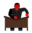 Big boss broke a table Red Businessman as loud in vector image