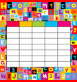 school timetable on letters background vector image