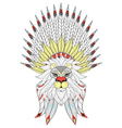 zentangle Lion with War Bonnet American native vector image