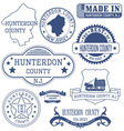 Hunterdon county New Jersey stamps and seals vector image