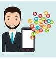 man smartphone social media vector image