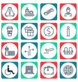 set of 16 travel icons includes hostess siren vector image