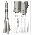 Space Rocket at Engraving style vector image vector image