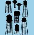 water tower silhouettes vector image vector image