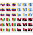 Venezuela Tuva Guinea Angola Set of 36 flags of vector image