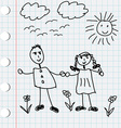 Cartoon doodle of boy and girl vector image