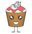 delicious cupcake bakery kawaii character vector image