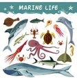 Marine Inhabitants Decorative Icons Set vector image