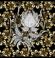 metal with floral pattern seamless golden pattern vector image