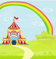Travelling circus under the rainbow vector image
