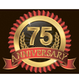 75 years anniversary golden label with ribbons vector image vector image
