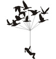 Flying girl with wild geese vector image