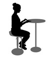 silhouette girl sitting on a chair white vector image vector image
