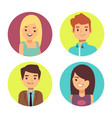 Male and female happy faces avatars for chats or vector image