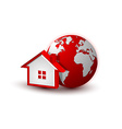 Earth and house icon vector image