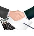 handshake over paper and pen vector image
