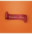 Red scroll Valentines Day Ribbon with Text vector image