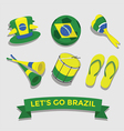 Brazil icon for cheering fan set vector image