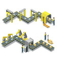 production line isometric 3d concept set vector image