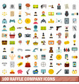 100 raffle company icons set flat style vector image