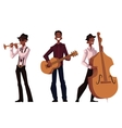 Set of handsome African male trumpet guitar and vector image