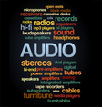 Audio Stereo Word Cloud Bubble Tag Tree Text vector image