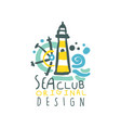 colorful yacht or sea club logo design with vector image