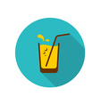 Glass of orange juice with straw bubbles and water vector image