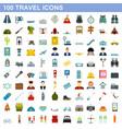100 travel icons set flat style vector image