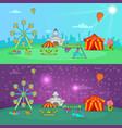 circus banner set horizontal cartoon style vector image