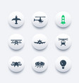 aircrafts icons set aviation air transport vector image