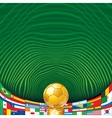 Soccer Background with Golden Cup and Flags vector image
