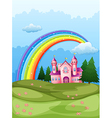 A castle at the hilltop with a rainbow in the sky vector image vector image