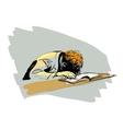 boy asleep on a textbook education school vector image