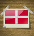 Flags Military Order Malta at frame on a brick vector image