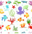 funny underwater life with sea plants and fishes vector image