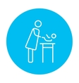 Mother taking care of baby line icon vector image