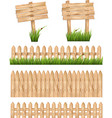 Set of wooden signs and a fences with grass vector image vector image